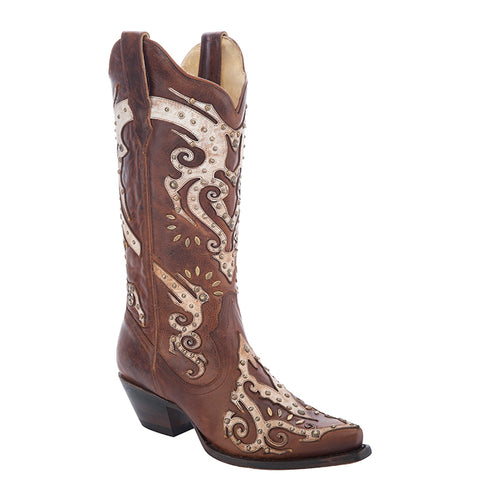 Ladies Corral R1371 Brown Studded Overlay Boots