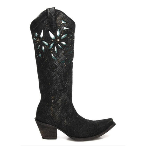 Ladies Corral C3345 Black Gold Net Embroidery and Cut Out