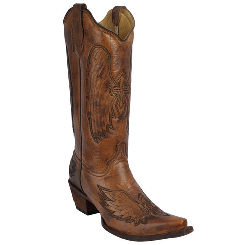 Ladies Corral L5845 Burnished Brown Wing and Cross