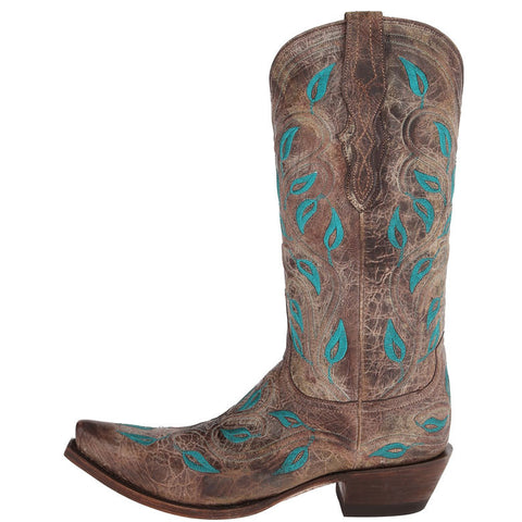 Ladies Lucchese M4866 Chocolate Veronica with Vine Embroidery