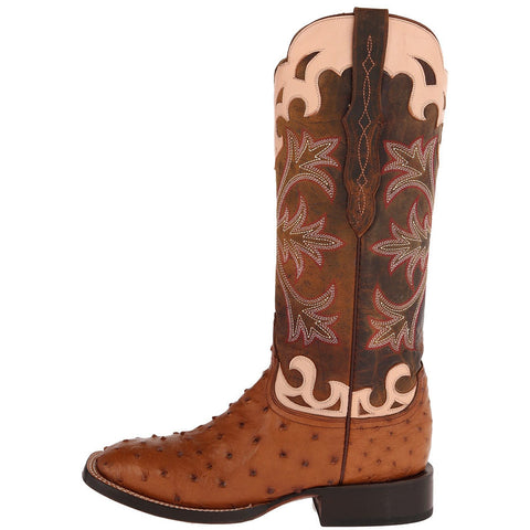 Ladies Lucchese M4939 Tan and Brown Full Quill Ostrich Rowena