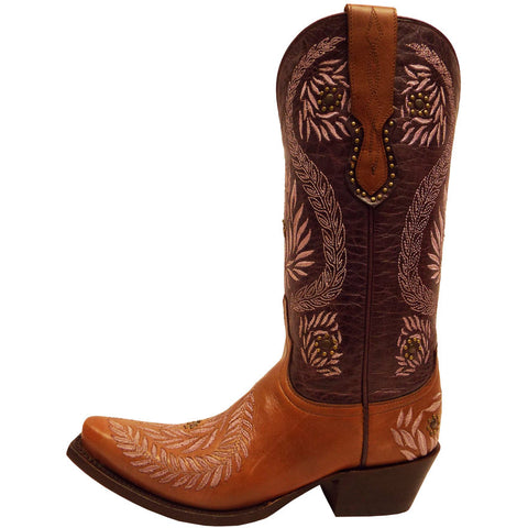 Ladies Lucchese M4836 Cognac and Purple Julie