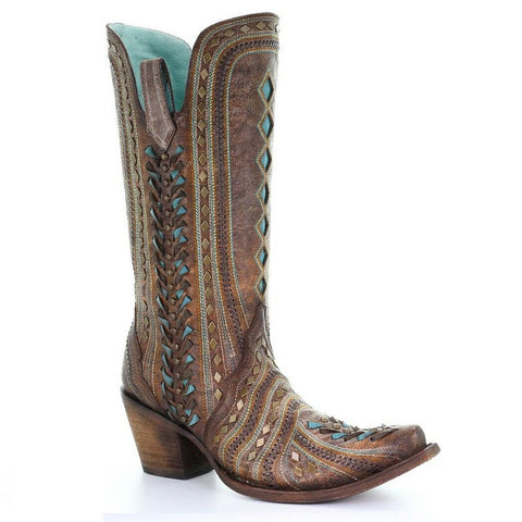 Ladies Corral C3540 Cognac Inlay and Woven Boots
