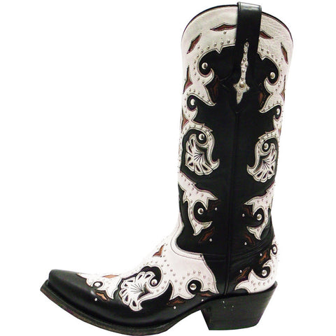 Ladies Lucchese M5016.S54 Black Studded Scarlette with Natural Inlays