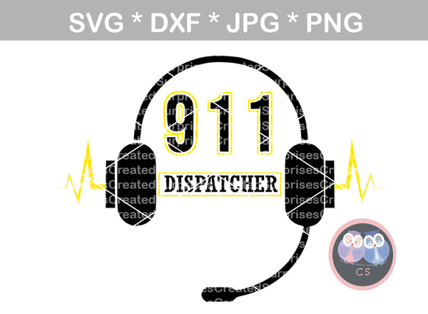 911 Dispatcher, headset, Police, heart, Hero, digital download, SVG, DXF, cut file, personal, commercial, use with Silhouette Cameo, Cricut and Die Cutting Machines