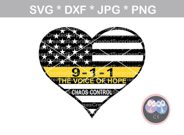 911 Dispatcher, thin gold line, hope, Police, heart, flag, Hero, digital download, SVG, DXF, cut file, personal, commercial, use with Silhouette Cameo, Cricut and Die Cutting Machines