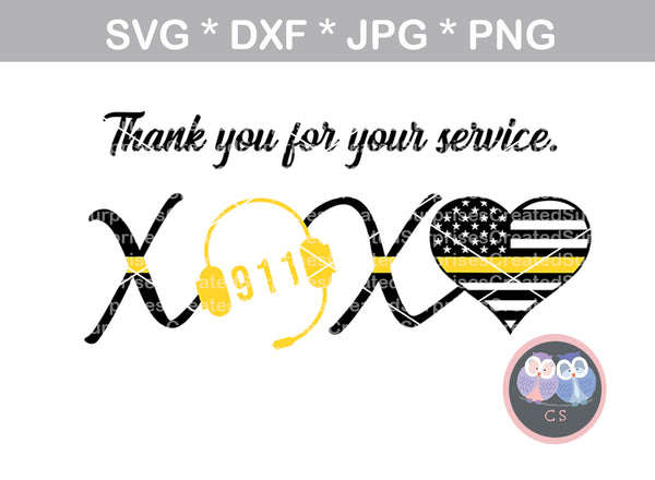 911 XOXO Dispatcher, headset, Police, heart, Hero, digital download, SVG, DXF, cut file, personal, commercial, use with Silhouette Cameo, Cricut and Die Cutting Machines