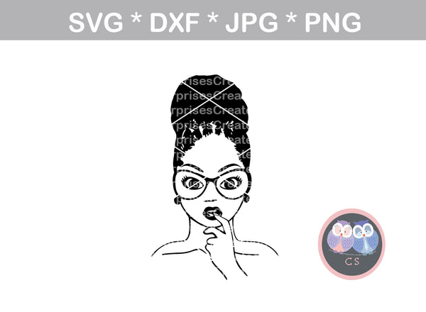 Afro woman, loc bun, finger in mouth, diva, wild hair, afro, girl, digital download, SVG, DXF, cut file, personal, commercial, use with Silhouette Cameo, Cricut and Die Cutting Machines