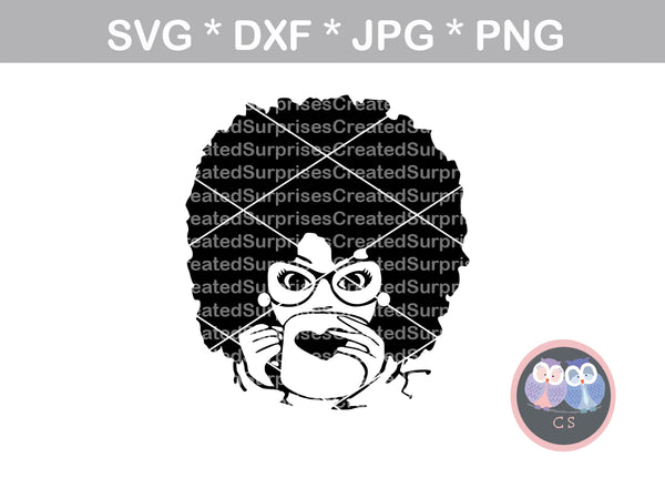 Afro woman, Drinking Coffee Diva, heart mug, wild hair, girl, Diva woman, glasses, digital download, SVG, DXF, cut file, personal, commercial, use with Silhouette Cameo, Cricut and Die Cutting Machines