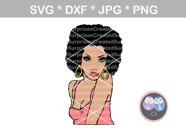 Afro woman, shoulder, colored face, black woman, digital download, SVG, DXF, cut file, personal, commercial, use with Silhouette Cameo, Cricut and Die Cutting Machines