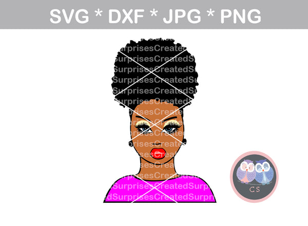 Afro woman, diva, wild hair, afro puff, black girl, digital download, SVG, DXF, cut file, personal, commercial, use with Silhouette Cameo, Cricut and Die Cutting Machines