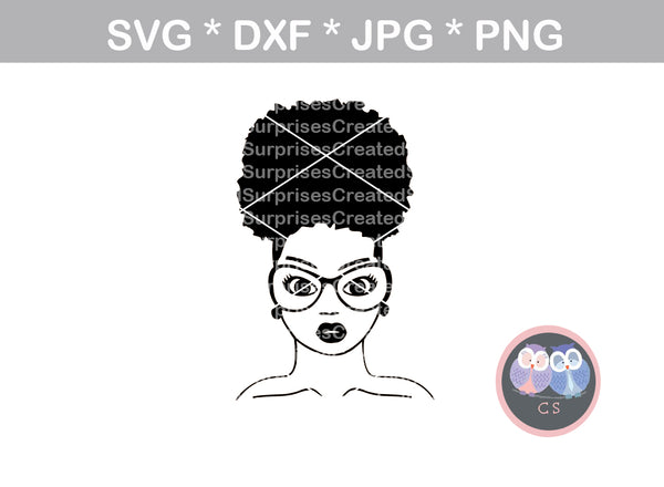 Afro woman, bun, diva, wild hair, afro, girl, digital download, SVG, DXF, cut file, personal, commercial, use with Silhouette Cameo, Cricut and Die Cutting Machines