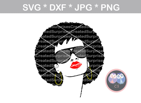 Afro woman, Black woman, Diva, digital download, SVG, DXF, cut file, personal, commercial, use with Silhouette Cameo, Cricut and Die Cutting Machines