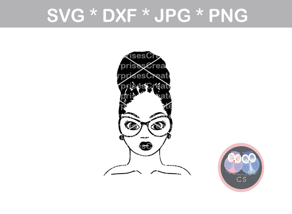 Afro woman, Loc bun, diva, wild hair, afro, girl, digital download, SVG, DXF, cut file, personal, commercial, use with Silhouette Cameo, Cricut and Die Cutting Machines