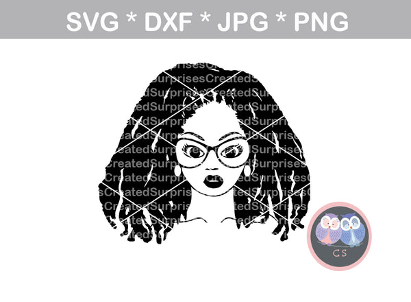 Afro woman, locs, diva, wild hair, afro, girl, digital download, SVG, DXF, cut file, personal, commercial, use with Silhouette Cameo, Cricut and Die Cutting Machines