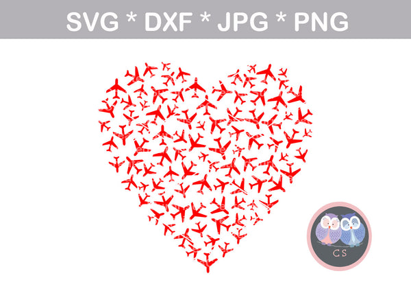 Airplane, Heart, love, digital download, digital download, SVG, DXF, cut file, personal, commercial, use with Silhouette Cameo, Cricut and Die Cutting Machines