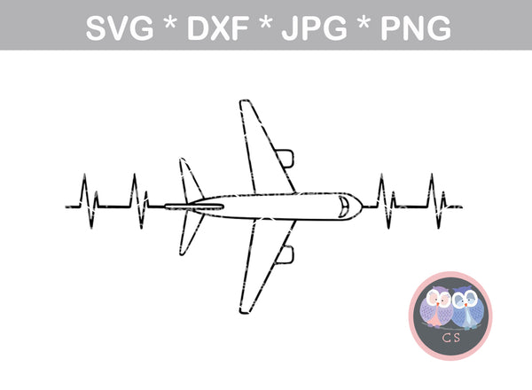 Airplane, Heartbeat, love, plane, digital download, digital download, SVG, DXF, cut file, personal, commercial, use with Silhouette Cameo, Cricut and Die Cutting Machines