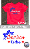 American Cutie, 4th of July, Bow, Stars, digital download, SVG, DXF, cut file, personal, commercial, use with Silhouette Cameo, Cricut and Die Cutting Machines