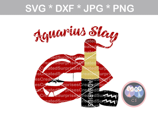 Aquarius Slay, biting Lips, lipstick, digital download, SVG, DXF, cut file, personal, commercial, use with Silhouette Cameo, Cricut and Die Cutting Machines