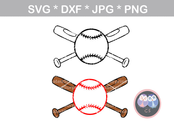 Baseball, crossing bats, Ballgame, ball, baseball, softball, digital download, SVG, DXF, cut file, personal, commercial, use with Silhouette Cameo, Cricut and Die Cutting Machines