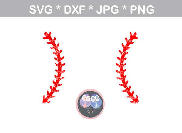 Baseball, laces, ball, baseball, digital download, SVG, DXF, cut file, personal, commercial, use with Silhouette Cameo, Cricut and Die Cutting Machines