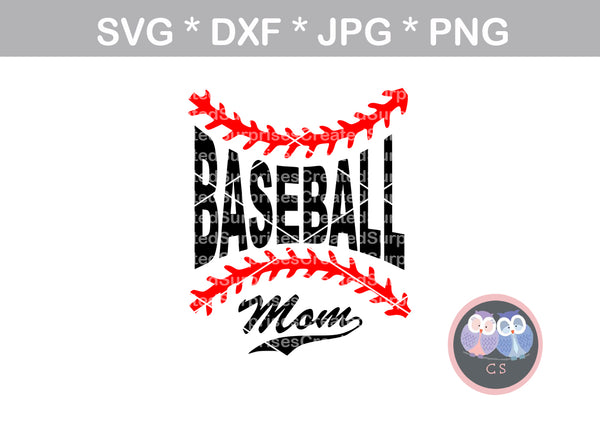 Baseball Mom, Laces, ball, baseball, digital download, SVG, DXF, cut file, personal, commercial, use with Silhouette Cameo, Cricut and Die Cutting Machines