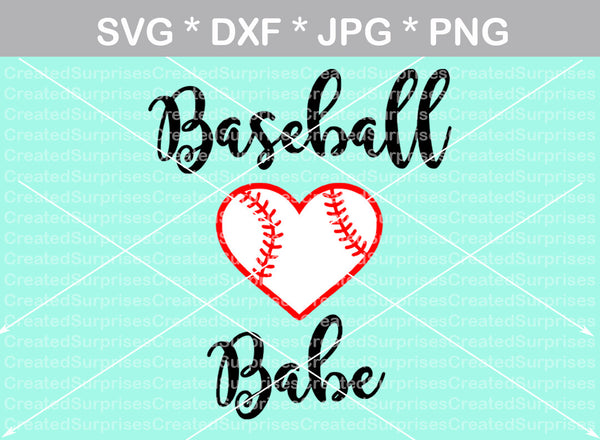 Baseball babe, heart ball, ball, baseball, digital download, SVG, DXF, cut file, personal, commercial, use with Silhouette Cameo, Cricut and Die Cutting Machines