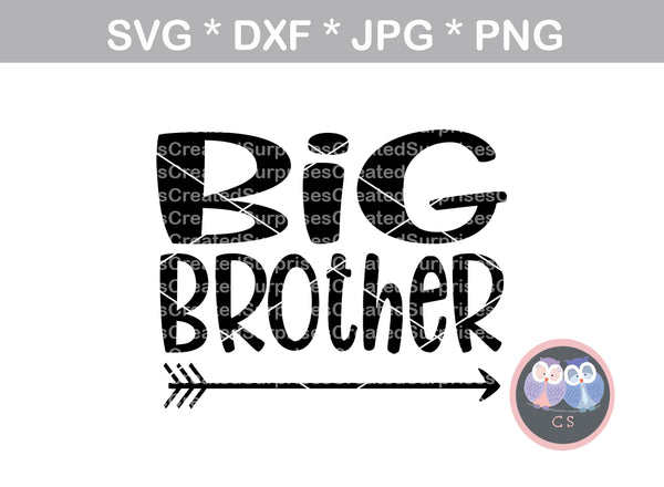 Big Brother, arrow, family, baby reveal, digital download, SVG, DXF, cut file, personal, commercial, use with Silhouette Cameo, Cricut and Die Cutting Machines