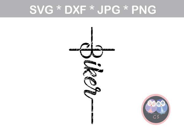 Biker cross, grace, christian, faith, digital download, SVG, DXF, cut file, personal, commercial, use with Silhouette Cameo, Cricut and Die Cutting Machines