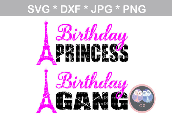 Birthday Princess, Birthday Gang, Birthday, girl, tower, group, digital download, SVG, DXF, cut file, personal, commercial, use with Silhouette Cameo, Cricut and Die Cutting Machines