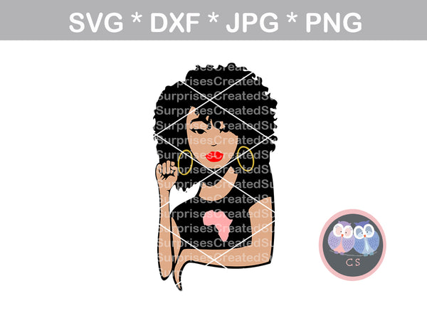 Black Girl fist, Afro woman, woman, girl, Diva woman, digital download, SVG, DXF, cut file, personal, commercial, use with Silhouette Cameo, Cricut and Die Cutting Machines