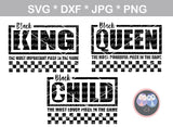 Black King, Queen, Child, saying, chess, digital download, SVG, DXF, cut file, personal, commercial, use with Silhouette Cameo, Cricut and Die Cutting Machines