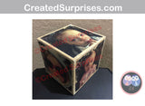 "Personalized Custom 3.5"" Wood Photo Cube, Photo Transfer Block, 5th Anniversary Gift"