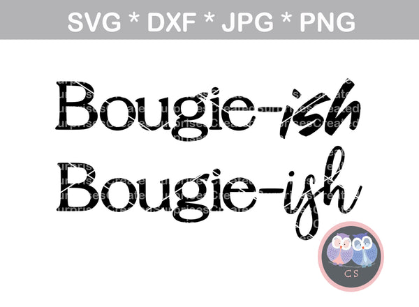 Bougie-ish, bougie, 2 versions, woman, digital download, SVG, DXF, cut file, personal, commercial, use with Silhouette Cameo, Cricut and Die Cutting Machines