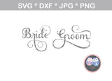 Bride, Groom, His, Hers, Mr, Mrs, wedding, titles, digital download, SVG, DXF, cut file, personal, commercial, use with Silhouette Cameo, Cricut and Die Cutting Machines