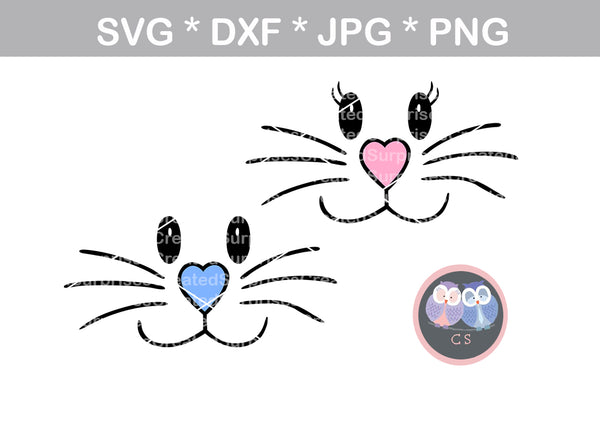 Bunny faces, boy, girl, Easter bunny face, cute rabbit face, digital download, SVG, DXF, cut file, personal, commercial, use with Silhouette Cameo, Cricut and Die Cutting Machines