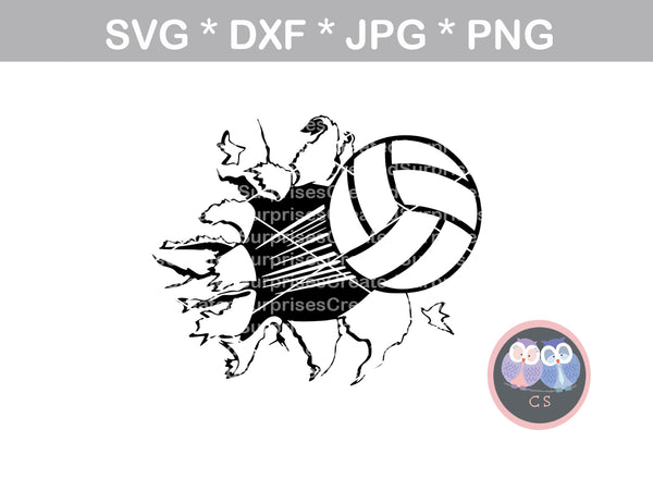 Bursting Volleyball, sport, ball, digital download, SVG, DXF, cut file, personal, commercial, use with Silhouette Cameo, Cricut and Die Cutting Machines