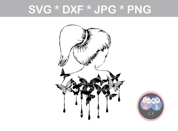 Ponytail woman, Butterfly, dripping butterflies, Diva, digital download, SVG, DXF, cut file, personal, commercial, use with Silhouette Cameo, Cricut and Die Cutting Machines