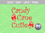 Candy Cane Cutie, Christmas, Bow, cute, digital download, SVG, DXF, cut file, personal, commercial, use with Silhouette Cameo, Cricut and Die Cutting Machines