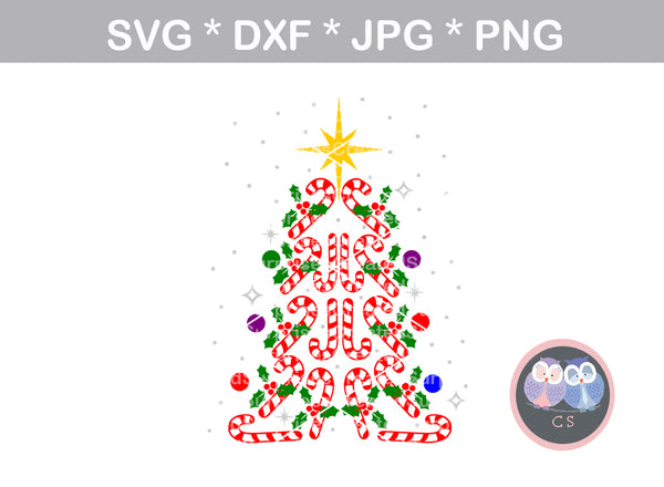 Candy Cane Tree, Christmas, Ornament, Star, digital download, SVG, DXF, cut file, personal, commercial, use with Silhouette Cameo, Cricut and Die Cutting Machines