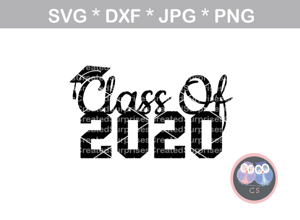 Class of 2020, 20, graduate, cap, senior, digital download, SVG, DXF, cut file, personal, commercial, use with Silhouette Cameo, Cricut and Die Cutting Machines