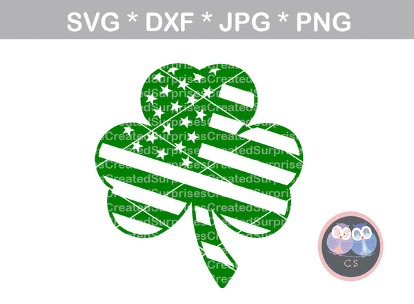 Shamrock, Clover, Flag, St Pattys Day, digital download, SVG, DXF, cut file, personal, commercial, use with Silhouette Cameo, Cricut and Die Cutting Machines
