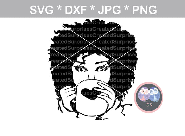 Drinking Coffee Diva, no glasses, wild hair, girl, Diva woman, glasses, digital download, SVG, DXF, cut file, personal, commercial, use with Silhouette Cameo, Cricut and Die Cutting Machines