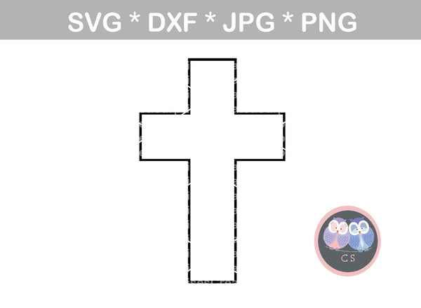 Cross, outline, grace, christian, faith, digital download, SVG, DXF, cut  file, personal, commercial, use with Silhouette Cameo, Cricut and Die  Cutting