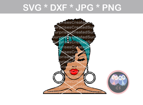 Afro woman, Curly hair, wild hair, black woman, girl, Diva woman, scarf, digital download, SVG, DXF, cut file, personal, commercial, use with Silhouette Cameo, Cricut and Die Cutting Machines