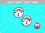 Cutie 1, Cutie 2, cute, funny, numbers 0-9, digital download, SVG, DXF, cut file, personal, commercial, use with Silhouette Cameo, Cricut and Die Cutting Machines