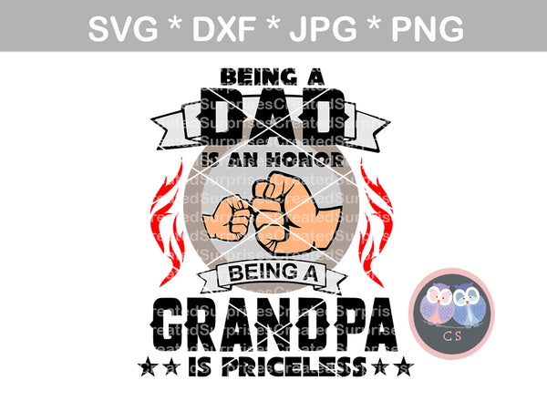 Dad, Grandpa, Fathers Day, Honor, fist, digital download, SVG, DXF, cut file, personal, commercial, use with Silhouette Cameo, Cricut and Die Cutting Machines