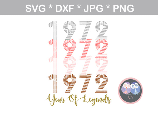 Birth year, Year of Legends (all numbers included) Date, digital download, SVG, DXF, cut file, personal, commercial, use with Silhouette Cameo, Cricut and Die Cutting Machines