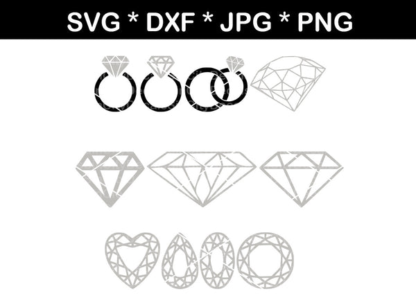 Diamond, wedding, ring, bling, gems, digital download, SVG, DXF, cut file, personal, commercial, use with Silhouette Cameo, Cricut and Die Cutting Machines