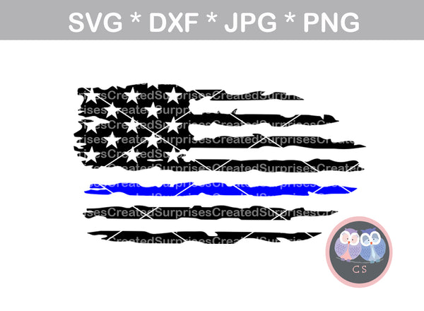 US Flag, Distressed, Thin blue line, Police, Hero, digital download, SVG, DXF, cut file, personal, commercial, use with Silhouette Cameo, Cricut and Die Cutting Machines